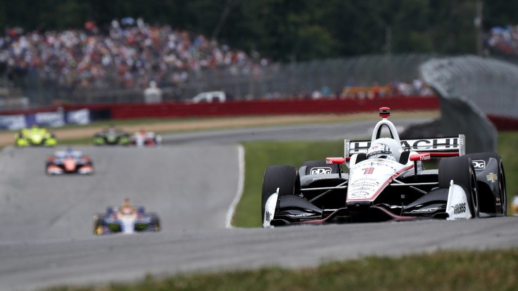 Josef Newgarden sets up for the Keyhole Turn (Turn 2) during the Honda Indy 200 at Mid-Ohio -- Photo by: Joe Skibinski