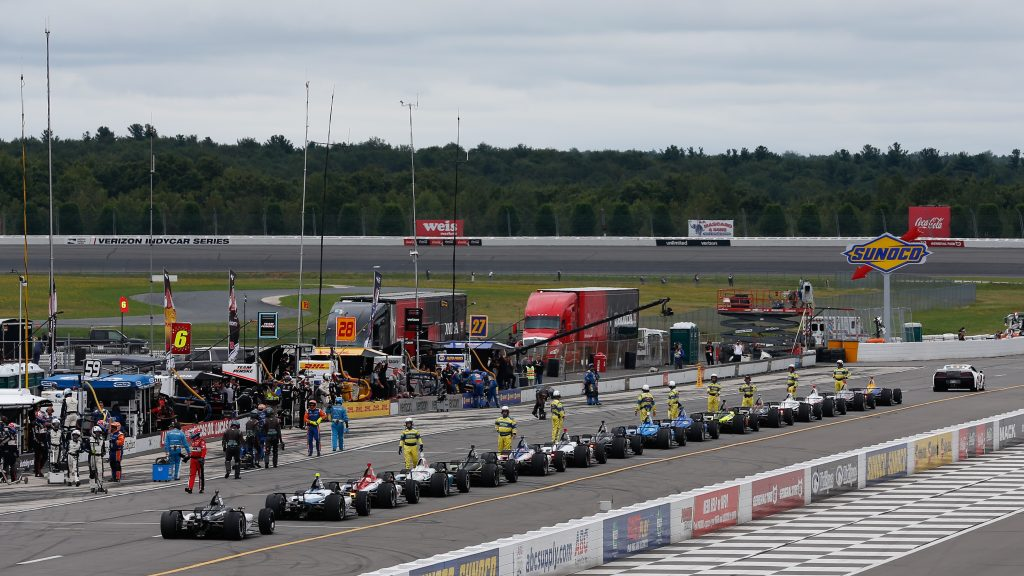 The field comes to a halt for the red flag during the ABC Supply 500 at Pocono Raceway -- Photo by: Joe Skibinski