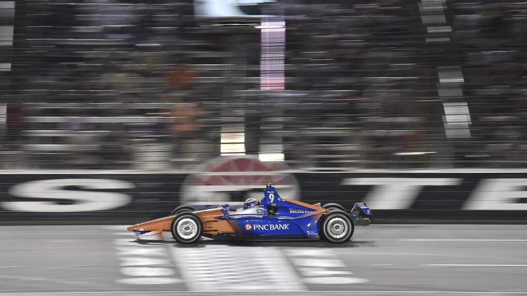 Scott Dixon streaks across the start-finish line during the DXC Technology 600 at Texas Motor Speedway