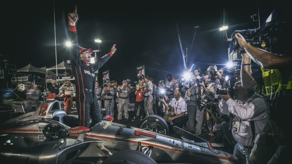 Will Power begins the celebration on pit lane after winning the Bommarito Automotive Group 500 at Gateway Motorsports Park -- Photo by: Chris Owens